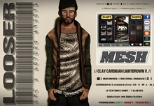 █║▌LOOSER ║▌║® // Clay Open Cardigan Sweater LIGHTBROWN // HUD MESH // MATERIAL ENABLED