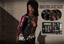 █║▌LOOSER ║▌║® // Ginger Open Jacket Hoodie BLACK // HUD MESH // MATERIAL ENABLED