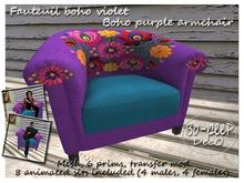 fauteuil boho violet/ Boho purple armchair