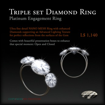 Engagement Ring of Triple Set Diamonds in Platinum by Trimmer Bay