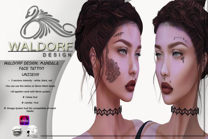 Waldorf Design. Mandala Face Tattoo -BENTO-