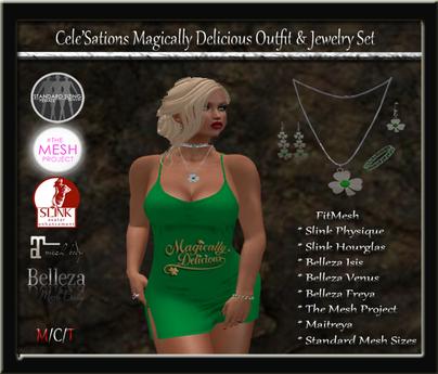 [CS] St. Patrick's Day Magically Delicious Micro Green Dress & Jewelry Set [ Maitreya Belleza Slink TMP ]