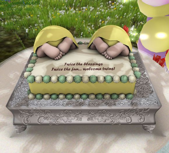 Aphrodite Welcome twins Baby shower cake