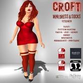 [F] CROFT Red Mini Dress & Socks w/ Bow