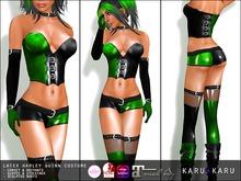 KARU KARU - Latex Harley Quinn Costume GREEN