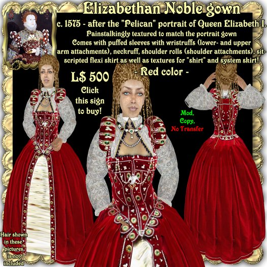 "Wunderlich's Elizabethan ""Pelican"" gown, Red color"