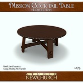 :: N :: Mission Cocktail Table - Leather Top