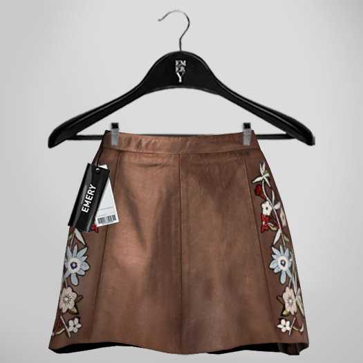 Emery Susan Embroidered Skirt Brown