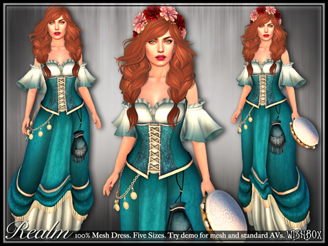 [Wishbox] Realm - Mesh Fantasy Corset Dress - One Colorway NO HUD VERSION (Teal) - Fits Standard and Mesh Bodies
