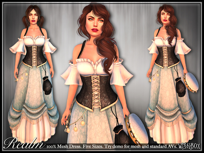 [Wishbox] Realm - Mesh Fantasy Corset Dress - One colorway NO HUD VERSION (Black on Blue)