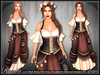 [Wishbox] Realm - Mesh Fantasy Corset Dress - One colorway NO HUD VERSION Brown, Black and Cream Medieval Role Play Gown