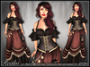[Wishbox] Realm - Mesh Medieval Fantasy Role Play Dress - NO HUD VERSION (Brown/Black) Fairy Tale Gown Standard Sizes