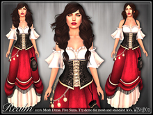 [Wishbox] Realm Mesh Medieval Fantasy Role Play Dress Fairy Tale Gown NO HUD VERSION (Black/Red/White)