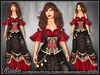 [Wishbox] Realm Mesh Medieval Fantasy Gown Corset Bodice Dress - NO HUD Single Color VERSION (Black Floral over Red)