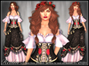 [Wishbox] Realm - Mesh Medieval Fantasy Corset Bodice Role Play Gown Dress NO HUD VERSION (Black Red Floral on Lavender)