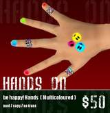 *Zanzo* Be Happy! hands (multicoloured) ~ hand decorations / taping / painted nails
