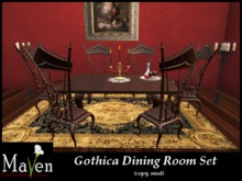 Discontinued - The Gothic Dining Room Set - Seating for 6 Plus Decor, Animated Chairs