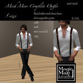 Men's Semi-Formal outfit-pants- suspenders- shirt with dress black leather shoes(box)