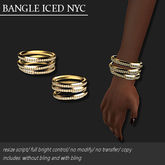 BANGLE-ICED-NYC GOLD    -RYCA-