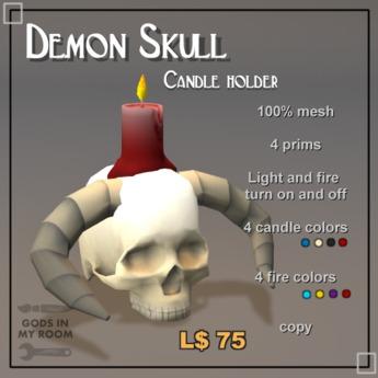 """Demon Skull Candle Holder """"Zamut"""""""