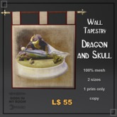 Medieval Wall Tapestry - Dragon and Skull
