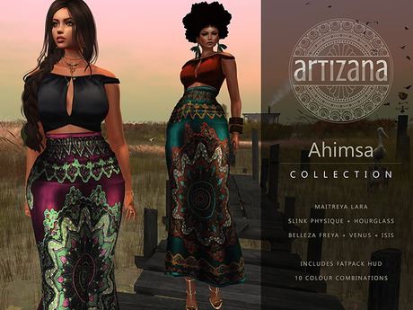 Artizana - Ahimsa Collection - Fitted Mesh Two-Piece Gown + Fatpack HUD