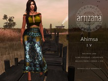 Artizana - Ahimsa IV - Fitted Mesh Two-Piece Gown - Green + Yellow + Teal