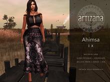 Artizana - Ahimsa IX - Fitted Mesh Two-Piece Gown - Grey + Pink
