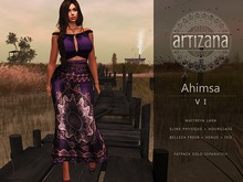 Artizana - Ahimsa VI - Fitted Mesh Two-Piece Gown - Purple + Pink