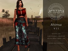 Artizana - Ahimsa VII - Fitted Mesh Two-Piece Gown - Red + Teal