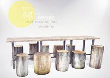 ionic  : Stump Stools & Table