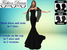 """Stella"" Black Mesh Gown & Shawl - Fashion Dream"