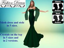 """""""Stella"""" Green Mesh Gown & Shawl - Fashion Dream"""