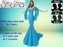 """Stella"" Light Blue Mesh Gown & Shawl - Fashion Dream"