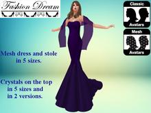"""Stella"" Purple Mesh Gown & Shawl - Fashion Dream"
