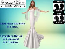 """Stella"" White Mesh Gown & Shawl - Fashion Dream"