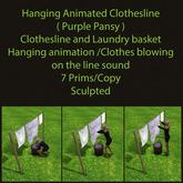 Hanging Animated Clothesline ( Purple Pansy )