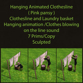 Hanging Animated Clothesline ( Pink  Pansy )