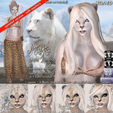 ND/MD Malkia - white Lioness Avatar w. skin appliers
