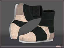 A N E Shoes - KohGenGo Wrap Booties (female ver) Cream Woven