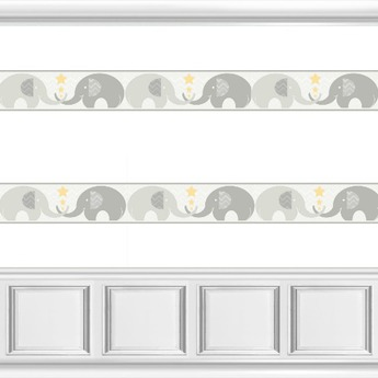Grey White Elephant Nursery Wallpaper