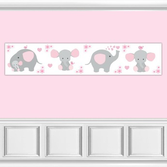 Pink Elephant Mouse Nursery Wallpaper