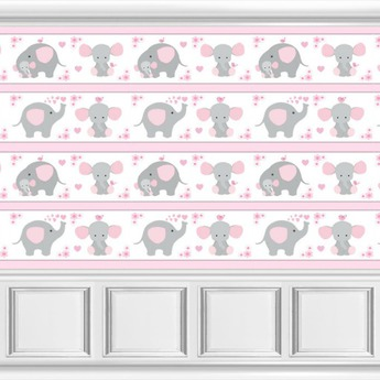 Pink Grey Elephant Mouse Nursery