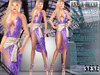 Bella Moda: Scintillio Violet & Gold Dress & Shoes Outfit - Fitted Maitreya/Classic/Physique/Hourglass/Isis/Venus - FULL