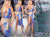 Bella Moda: Scintillio Blue & Gold Dress & Shoes Outfit - Fitted Maitreya/Classic/Physique/Hourglass/Isis/Venus - FULL
