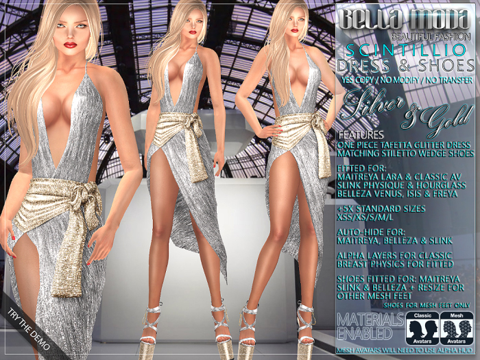Bella Moda: Scintillio Silver & Gold Dress & Shoes Outfit - Fitted Maitreya/Classic/Physique/Hourglass/Isis/Venus - FULL