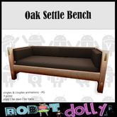 Robot Dolly - Oak Settle Sofa - Brown Leather