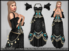 [Wishbox] Realm NO HUD VERSION (Blue Floral on Black) for Standard and Mesh Bodies Role Play Fantasy Dress