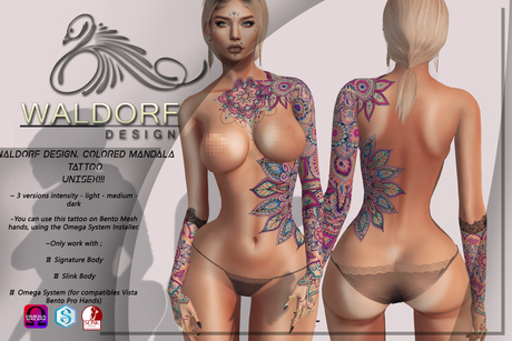Waldorf Design. Colored Mandala Tattoo -BENTO-
