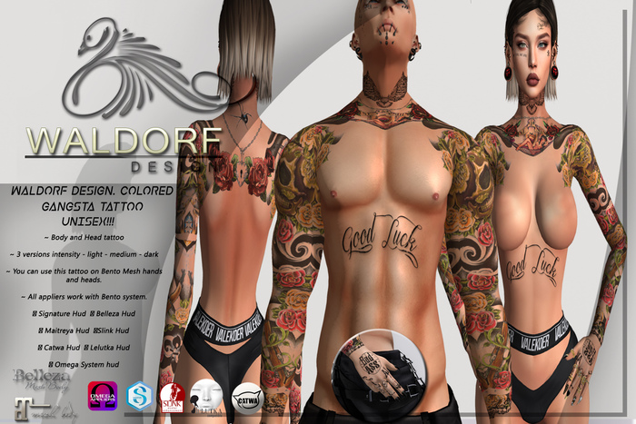 Waldorf Design. Colored Gangsta Tattoo